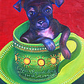 Dog in Cup Poster by Gail Mcfarland
