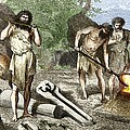 Early Humans Smelting Bronze Poster by Sheila Terry