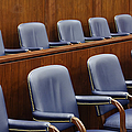 Empty Jury Seats in Courtroom Print by Jeremy Woodhouse