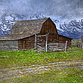 Grand Teton Iconic Mormon Barn Fence Spring Storm Clouds Print by John Stephens