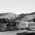 Historic Niles Trains in California . Southern Pacific Locomotive and Sante Fe Caboose.7D10819.bw Poster by Wingsdomain Art and Photography