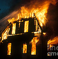 House On Fire Poster by Photo Researchers, Inc.