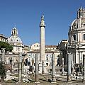 Imperial Fora with the Trajan's Column and the Church Santissimo Nome Di Maria.  Rome Print by BERNARD JAUBERT