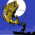 Largemouth Bass Fish and Fly Fisherman Poster by Aloysius Patrimonio