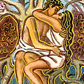 Lovers kissing each other under a blooming tree Print by Vasile Movileanu