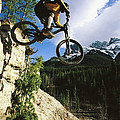 Man Jumping On His Mountain Bike Poster by Mark Cosslett