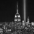 New York City Tribute in Lights Empire State Building Manhattan at Night NYC Poster by Jon Holiday