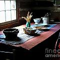 Old Cabin Table Print by Julie Dant