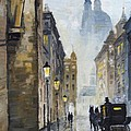 Prague Old Street 01 Print by Yuriy  Shevchuk