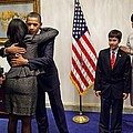 President And Michelle Obama Greet Print by Everett