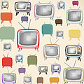 retro TV pattern  Print by Setsiri Silapasuwanchai