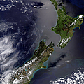 Satellite View Of New Zealand Print by Stocktrek Images