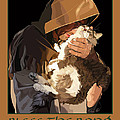 St. Francis with Cat Poster by Kris Hackleman