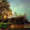 Sunset on Tractor Print by Benanne Stiens