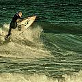 Surfing - Jersey Shore Print by Angie Tirado