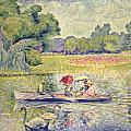 The Promenade in the Bois de Boulogne Poster by Henri-Edmond Cross