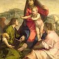 The Virgin and Child with a Saint and an Angel Poster by Andrea del Sarto