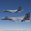 Two F-15 Eagles Conduct Air-to-air Poster by HIGH-G Productions