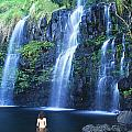 Woman At Waterfall Poster by Dave Fleetham - Printscapes