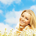 Beautiful woman enjoying daisy field and blue sky Poster by Anna Omelchenko