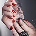 Black Sand Falling on Woman Hands Poster by Oleksiy Maksymenko