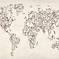 Map of the World Map Floral Swirls Poster by Michael Tompsett