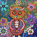 OWL DAY OF THE DEAD Print by PRISTINE CARTERA TURKUS