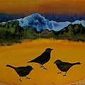 3 blackbirds Poster by Carolyn Doe