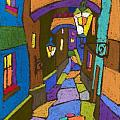 Prague Old Street Print by Yuriy  Shevchuk