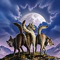 3 Wolves Mooning Poster by Jerry LoFaro