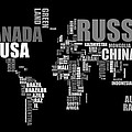 World Map in Words Print by Michael Tompsett