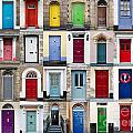 32 front doors horizontal collage  Print by Richard Thomas