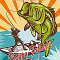 Fly Fisherman on boat catching largemouth bass Poster by Aloysius Patrimonio