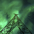 Powerlines And Aurora Borealis Print by Arild Heitmann