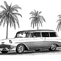 56 Chevy Wagon Poster by Peter Piatt