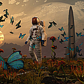 A Astronaut Is Greeted By A Swarm Print by Mark Stevenson