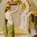 A Basket of Roses - Grecian Girls Print by Henry Thomas Schaefer