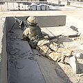 A British Soldier Provides Security Print by Andrew Chittock