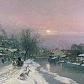 A Canal Scene in Winter  Poster by Anders Anderson Lundby
