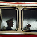 A Chinese Pla Soldier Sits On A Bus Print by Justin Guariglia