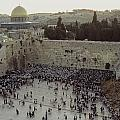 A Crowd Gathers Before The Wailing Wall Poster by James L. Stanfield