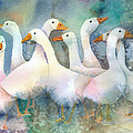 A Disorderly Group Of Geese Poster by Arline Wagner