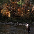 A Fly-fisherman Lays Out A Perfect Cast Print by Paul Nicklen