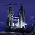 A Futuristic Space Shuttle Awaits Poster by Walter Myers