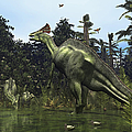 A Lambeosaurus Rears Onto Its Hind Legs Poster by Walter Myers