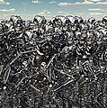 A Large Gathering Of Robots Print by Mark Stevenson
