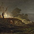 A Lime Kiln at Coalbrookdale Print by Joseph Mallord William Turner