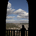 A Man Looks Out Of Ajloun Castle Print by Taylor S. Kennedy