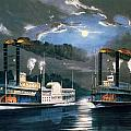 A Midnight Race on the Mississippi Print by Currier and Ives