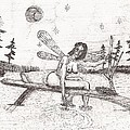 a moment with the moon... - sketch Print by Robert Meszaros